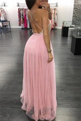 Pink Spaghetti-Strpas Deep V-Neck Backless A-Line Prom Dresses_2