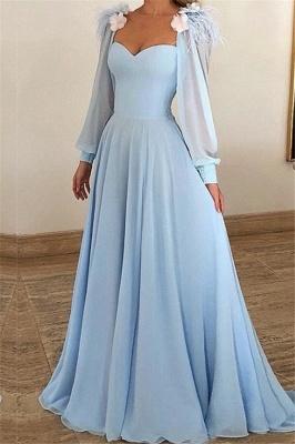Blue Flower Appliques Fur Sleeveless A-Line Prom Dresses_1