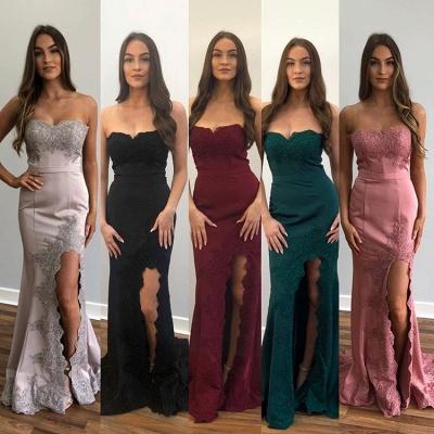 Elegant Strapless Appliques Sleeveless Side-Slit Mermaid Prom Dresses_3