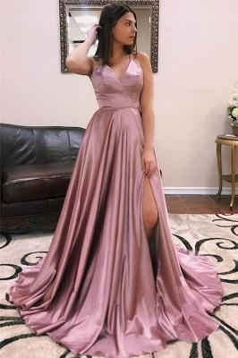 Glamorous Spaghetti-Straps V-Neck Side-Slit A-Line Prom Dresses_1