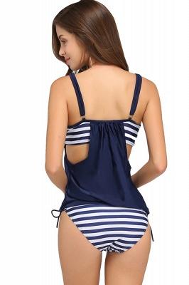 Streaks One-piece Side-cut Scoop Spaghetti Swimsuits_14