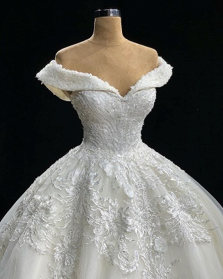 Elegant Off The Shoulder Appliques Sexy Ball Gown Wedding Dresses Cheap_2