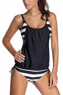 Streaks One-piece Side-cut Scoop Spaghetti Swimsuits_3