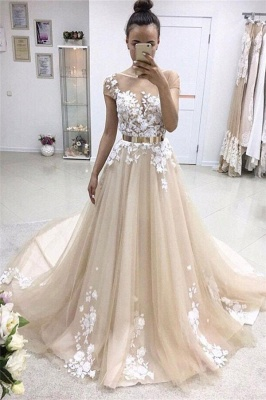 Elegant Jewel Appliques Sleeveless Tulle A-Line Prom Dresses_1
