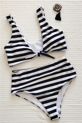 Stripes Vintage Style Two-piece Scoop Swimwear Suits_6
