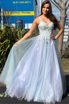 Elegant Straps Lace Appliques Tulle Sleeveless A-Line Prom Dress_2