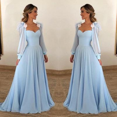 Blue Flower Appliques Fur Sleeveless A-Line Prom Dresses_2