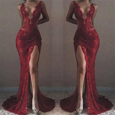 TRUDY | Mermaid Front-Split Sleeveless V-neck Lace Appliques Prom Dresses_3