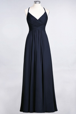 Elegant Princess Chiffon Spaghetti-Straps V-Neck Sleeveless Floor-Length Bridesmaid Dress with Ruffles_27