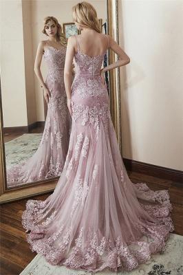 Glamorous Spaghetti-Straps Appliques Tulle Mermaid Prom Dresses_2