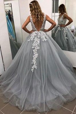 Elegant Crystal Apppliques Simple Ball Gown Prom Dresses | A-Line Sleeveless Backless Evening Dresses_2