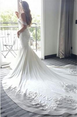 Elegant New Arrival Mermaid Sexy Off The Shoulder Train Beautiful Lace Appliques Wedding Dresses_3