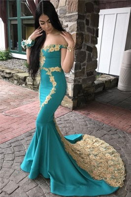 Glamorous Off-The-Shoulder Appliques Sleeveless Mermaid Prom Dresses_1