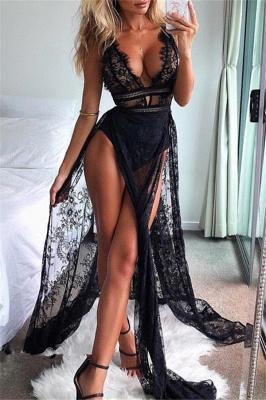 Sexy Black Straps Lace Sleeveless Side-Slit Mermaid Prom Dresses_1