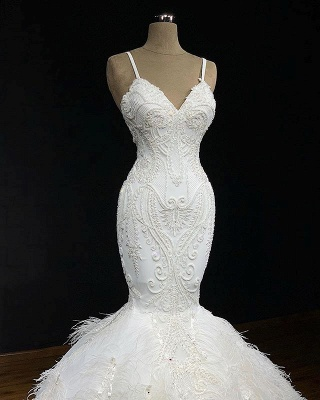 Gorgeous Spaghetti Straps Feather Appliques Mermaid Wedding Dresses Cheap Online_2