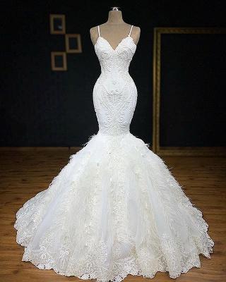 Gorgeous Spaghetti Straps Feather Appliques Mermaid Wedding Dresses Cheap Online_1