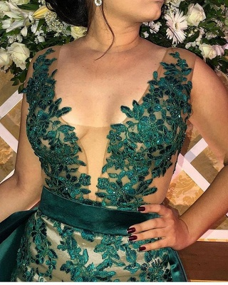 Green Straps Appliques Side-Slit Sleeveless A-Line Prom Dress_2