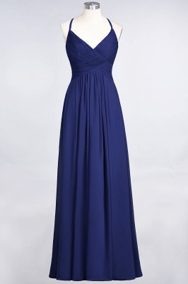 Elegant Princess Chiffon Spaghetti-Straps V-Neck Sleeveless Floor-Length Bridesmaid Dress with Ruffles_25