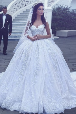 Sweetheart Gorgeous Lace Sleevesless Flowers Ball Gown Wedding Dresses Cheap_2