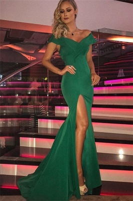Green Off-The-Shoulder Sleeveless Side-Slit Mermaid Evening Dresses_1