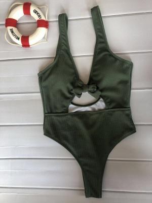 Plain One-piece Knot Keyhole Swimwears_6
