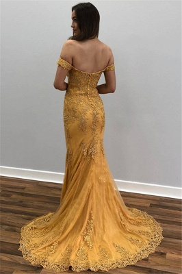 Yellow Off-The-Shoulder Appliques Tulle Mermaid Prom Dresses_2