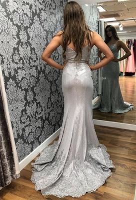 Spaghetti-Straps Applique Sleeveless Tulle Mermaid Prom Dresses_2