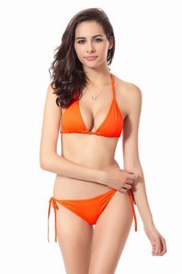 Simple Halter Triangle Pads Two-piece Bikini Sets_6