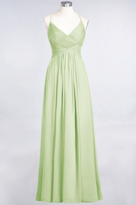 Elegant Princess Chiffon Spaghetti-Straps V-Neck Sleeveless Floor-Length Bridesmaid Dress with Ruffles_33