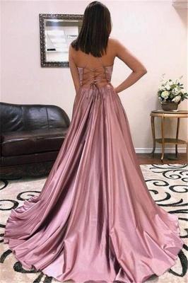 Glamorous Spaghetti-Straps V-Neck Side-Slit A-Line Prom Dresses_2
