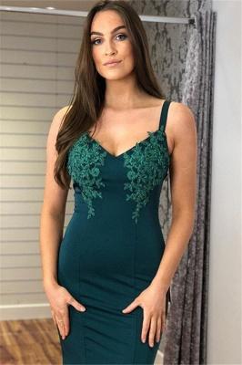 Glamorous Straps Appliques V-Neck Mermaid Prom Dresses_3