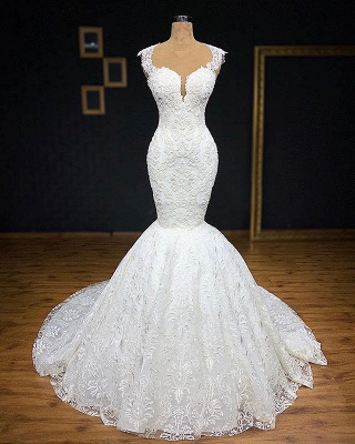 Glamorous Straps Appliques Backless Sleeveless Mermaid Bridal Gown