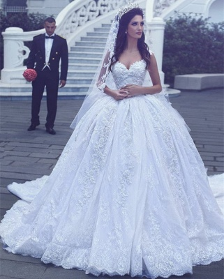 Sweetheart Gorgeous Lace Sleevesless Flowers Ball Gown Wedding Dresses Cheap_4