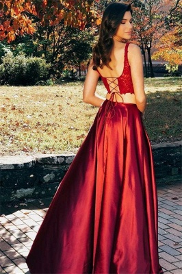 Burgundy Straps Side-Slit Sleeveless Two-Piece A-Line Prom Dresses_2