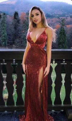 Glamorous Sequins Spaghetti-Straps V-Neck Side-Slit Mermaid Prom Dresses_1