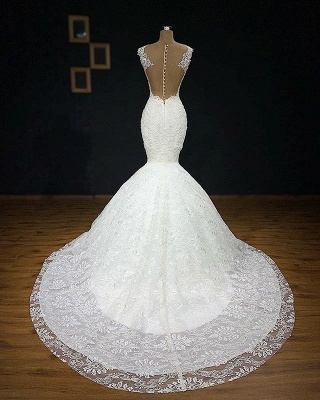 Glamorous Straps Appliques Wedding Dresses Cheap   Backless Sleeveless Mermaid Bridal Gowns_3