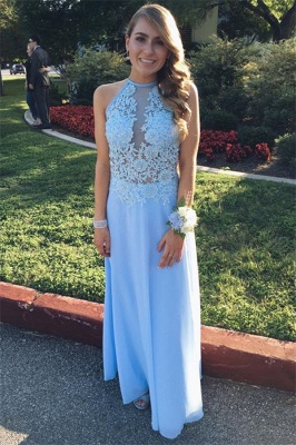 Lace Halter Flower Simple Prom Dresses | A-Line Sleeveless Evening Dresses