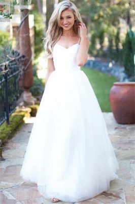 Gorgeous Spaghetti-Strpas Tulle A-Line Wedding Dresses