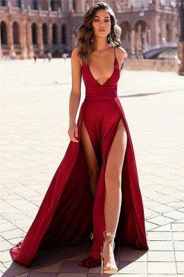 Sexy Burgundy Spaghetti-Straps Side-Slit A-Line Prom Dresses_1