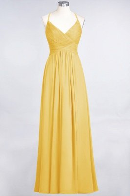Elegant Princess Chiffon Spaghetti-Straps V-Neck Sleeveless Floor-Length Bridesmaid Dress with Ruffles_16