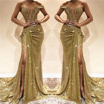 One Shoulder Side Slit Sequins Formal Dress   Sleeveless Long Prom Dresses Cheap Online_3
