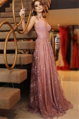 Sexy Spaghetti-Strpas Appliques Backless A-Line Prom Dresses_1