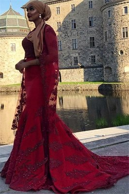 Burgundy Lace Appliques Jewel Neck Long Sleeves Mermaid Prom Dress_2