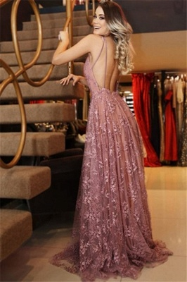 Sexy Spaghetti-Strpas Appliques Backless A-Line Prom Dresses_2