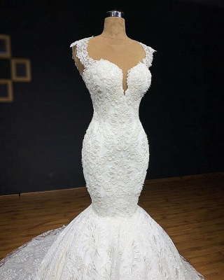 Glamorous Straps Appliques Wedding Dresses Cheap   Backless Sleeveless Mermaid Bridal Gowns_2