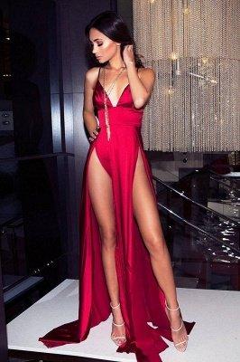 Sexy V-Neck Spaghetti Straps A-Line Front Split Prom Dress_2