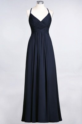 Elegant Princess Chiffon Spaghetti-Straps V-Neck Sleeveless Floor-Length Bridesmaid Dress with Ruffles_27