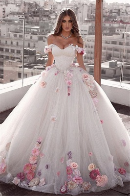Gorgeous Off The Shoulder Flowers Bridal Gowns | Cheap Fluffy Tulle Ball Gown Wedding Dresses_1