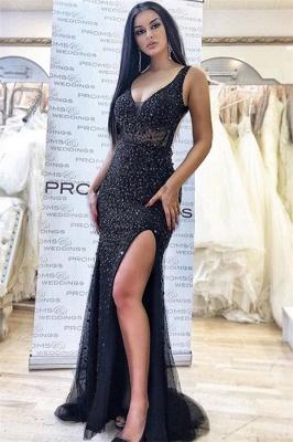 Elegant Black Appliques Straps Sleeveless Side-Slit Mermaid Prom Dresses_1