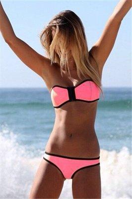 Ensembles de bikini colorés sans bretelles à bordure noire_2